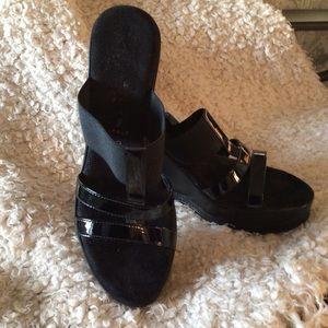 Wedge slip on sandal